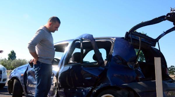 Kamyonun Çarptiği Otomobil Kanala Uçtu: 5 Yaralı