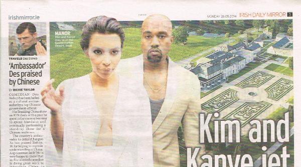Kardashian- West Çiftinin  Gizli Balayı İrlanda Basınının Manşetinde