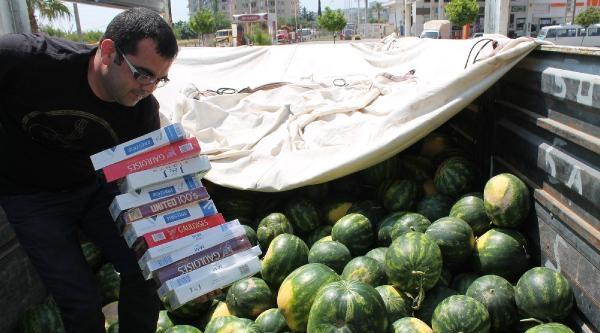 Karpuz Kamyonunda 87 Bin Paket Kaçak Sigara