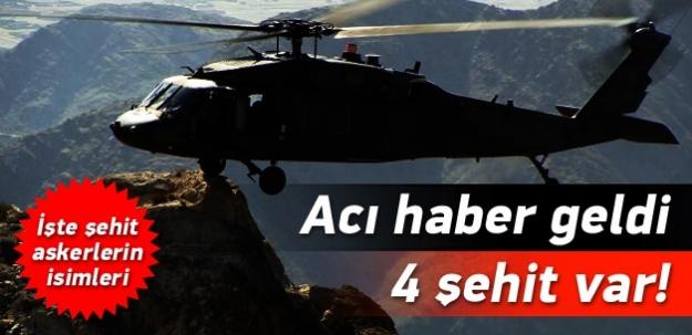 Kaybolan helikopterde 4 şehit var!