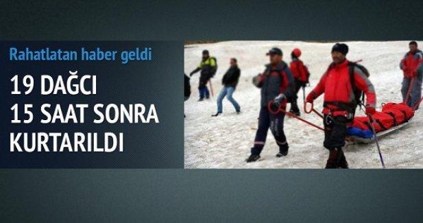 Kayıp 19 dağcıya ulaşıldı