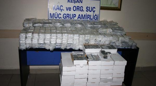 Keşan'da Bin 700 Kaçak Cep Telefonu Ele Geçirildi
