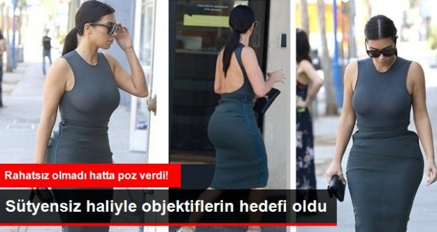 Kim Kardashian Sokağa Sütyensiz Çıktı