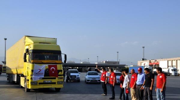 Kızılay'ın Yardım Tır'ları Habur'dan Sincar'a Çikiş Yaptı