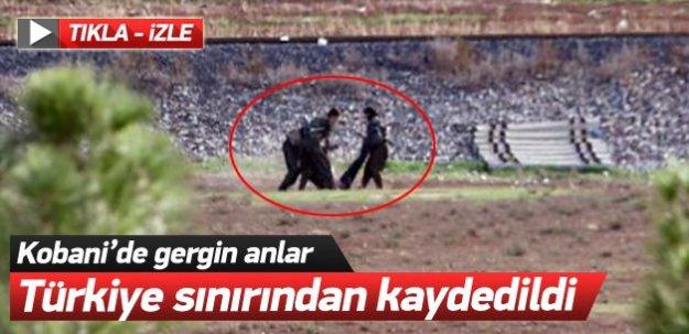 Kobani'de gergin anlar! Türkiye sınırından kaydedildi!