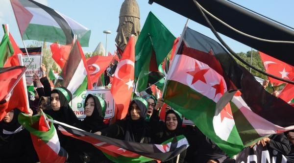 Konya'da 5 Bin Kişi İsrail'e Tepki Gösteri