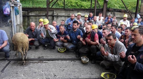 Maden Ocağında Yenilenen Asansör Kabinleri İçin Kurban Kesildi