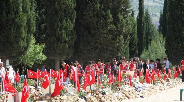 Maden Şehitlerinin Mezarları Bayraklarla Donatıldı