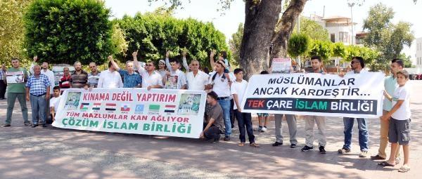 Manavgat'ta İsrail Ve Çin Protestosu