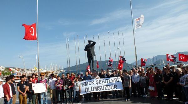Marmaris'te, Ölen Maden İşçileri İçin Eylem Yapıldı