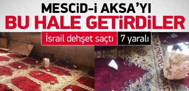 Mescid-i Aksa'yı bu hale getirdiler! İsrail dehşet saçtı!