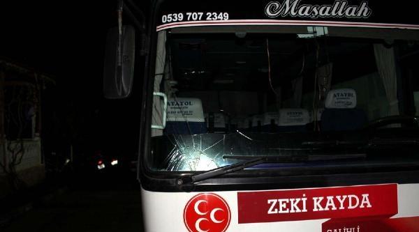Mhp'li Başkan Adayının Konvoyuna Taşlı Saldırı