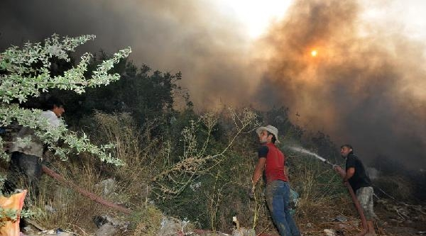 Milas Çöp Depolama Alanında Yangın Çikti