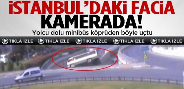 Minibüs köprüden böyle uçtu ...