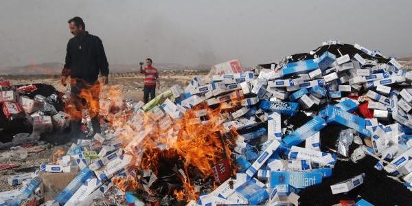 Nizip'te Kaçak Çay Ve Sigaralar Imha Edildi