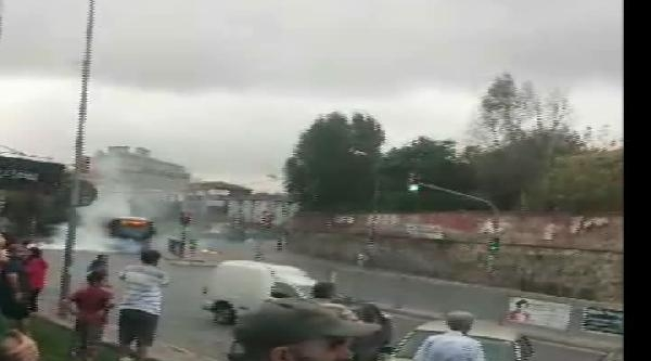 (özel) Halk Otobüsüsüne Molotoflu Saldırı Kamerada