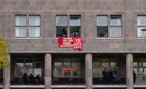 Pankart asma eylemine 7 tutuklama!