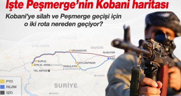 Peşmerge'nin Kobani'ye olası geçiş rotaları