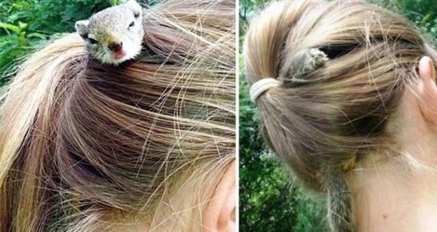 Saçında sincap besliyor