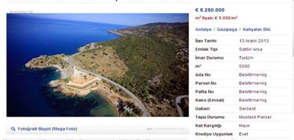 Sahibinden 5 Milyon Euro'ya Yarimada