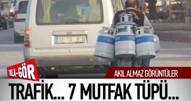 Şaka değil gerçek! Trafik,7 mutfak tüpü ve 1 motosiklet...