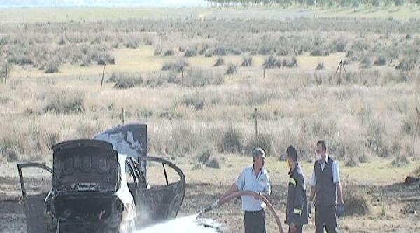 Şarampole Yuvarlanan Otomobil Yandı, Şans Eseri Yaralanan Olmadı