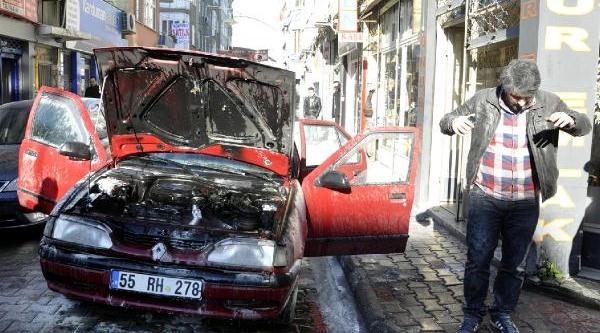 Seyir Halindeki Otomobilde Yangin Çikti