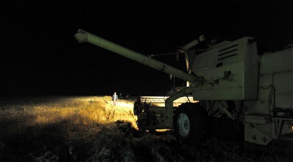 Sıcaktan Bunalan Çiftçi Gece Hasadına Başladı