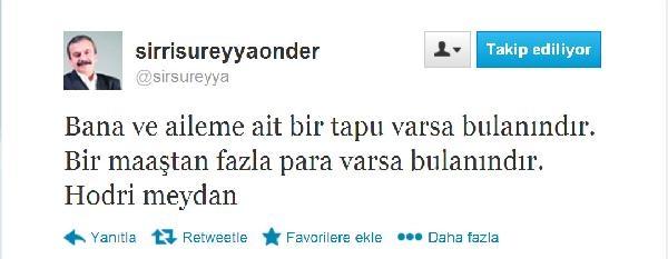 Sirri Süreyya Önder: Bana Ve Aileme Ait Tapu Varsa Bulanindir