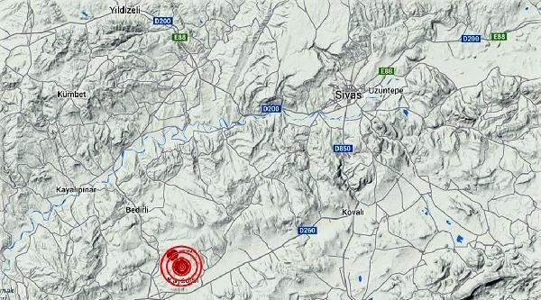 Sivas'da 4 Büyüklüğünde Deprem