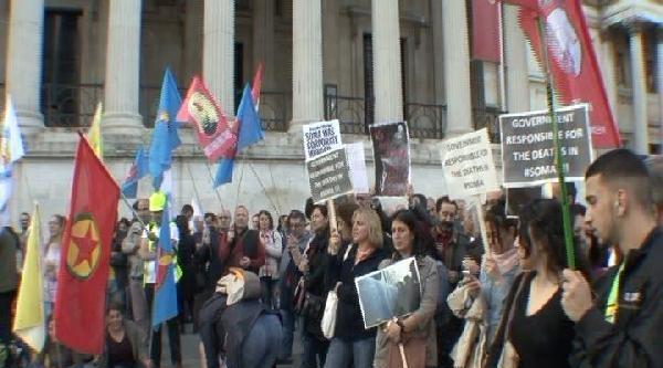 Soma Faciası Londra'da Trafalgar Meydanı'nda Protesto Edildi