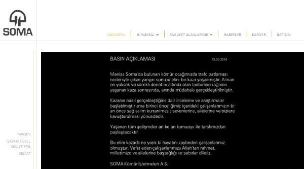 Soma Kömür İşletmeciliği'nin İnternet Sitesi Açıldı