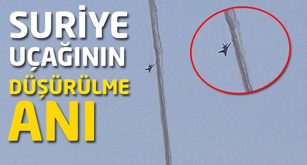 Suriye uçağının vurulma  anı...