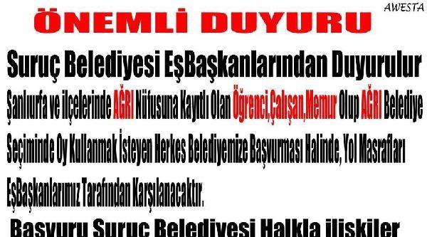 Suruç Belediye Başkanı, Ağrı'ya Oy Vermeye Gideceklerin Masrafını Karşılayacak