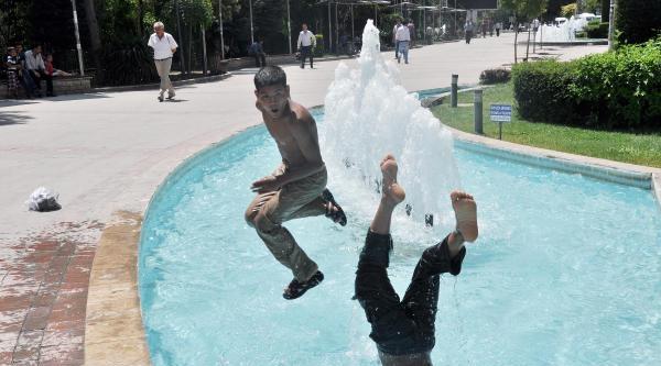Süs Havuzlarında Serinliyorlar