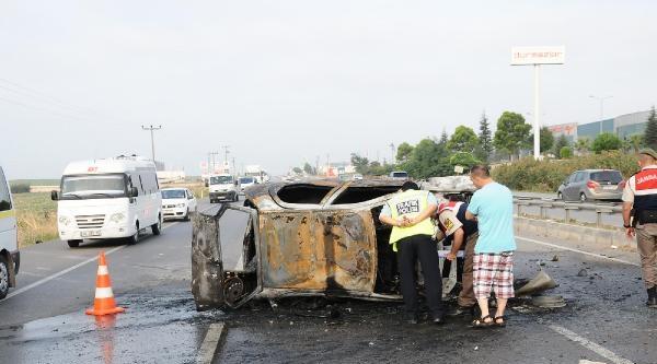 Takla Atan Lpg'li Araç Yandı: 1 Ölü, 4 Yaralı