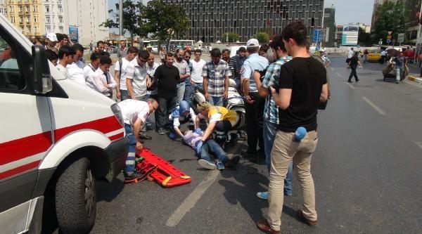 Taksim Meydanı'nda Akıl Almaz Kaza