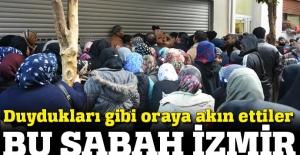 Sığınmacıların dondurucu soğukta yardım kuyruğu