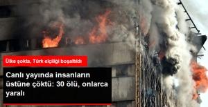 İran'da İtfaiyecilere Mezar Olan Binanın Yıkılma Anı Kamerada