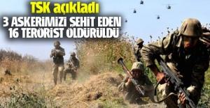 Terör hedefleri vuruldu, 16 terörist öldürüldü