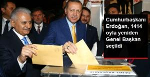Cumhurbaşkanı Erdoğan, 1414 Oyla Yeniden AK Parti Genel Başkanı Oldu