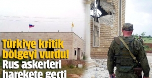 Türkiye'nin vurduğu Afrin'deki YPG binaların Rusya kendi bayraklarını astı