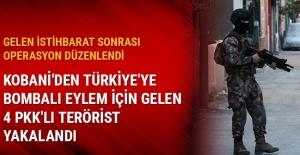 Kobani'den Türkiye'ye bombalı eylem için gelen 4 PKK'lı terörist yakalandı
