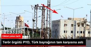 Terör Örgütü PYD Türkiye Sınırına İkinci ABD Bayrağını Astı