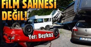 Beykoz'da araç taşıyan TIR kaza yaptı