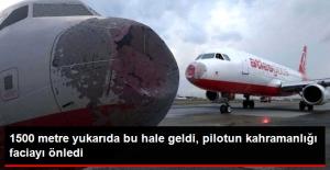 Havada Korkunç Anlar! Dolu Yağışı Uçağın Burnunu Parçaladı, Pilot Faciayı Önledi