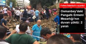Osmanbey'de Bulunan Pangaltı Ermeni Mezarlığı'nın Duvarı Çöktü, 2 Kişi Yaralandı