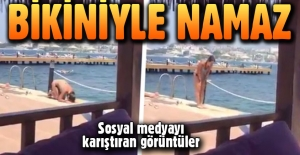 Bikiniyle namaz kıldı, sosyal medya...