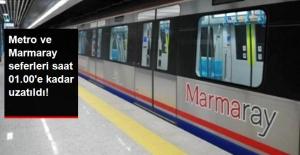 Metro ve Marmaray Seferleri Saat 01.00'e Kadar Uzatıldı
