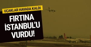 İstanbul'da fırtına uçak seferleri iptal uçaklar havada kaldı